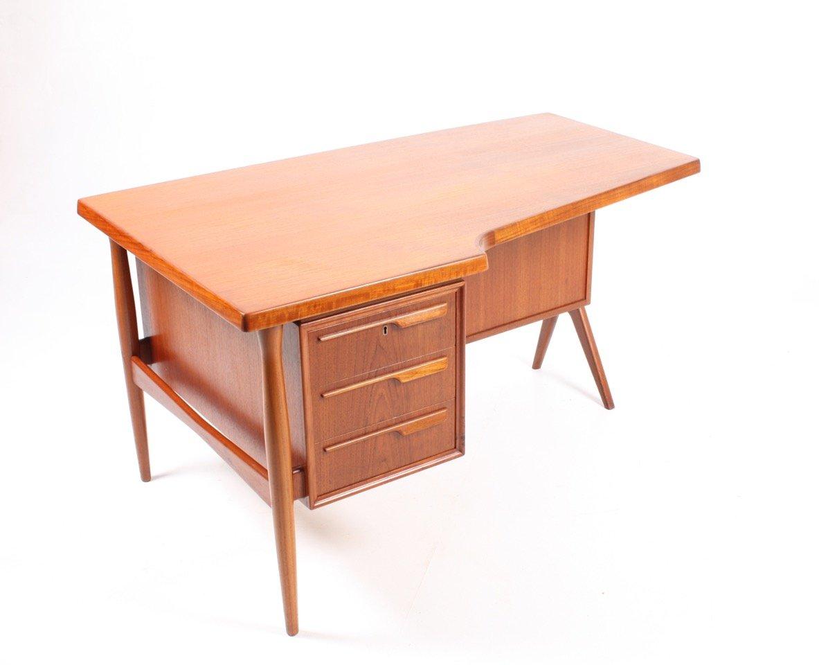 d nischer schreibtisch aus teak mit schrank 1950er bei. Black Bedroom Furniture Sets. Home Design Ideas