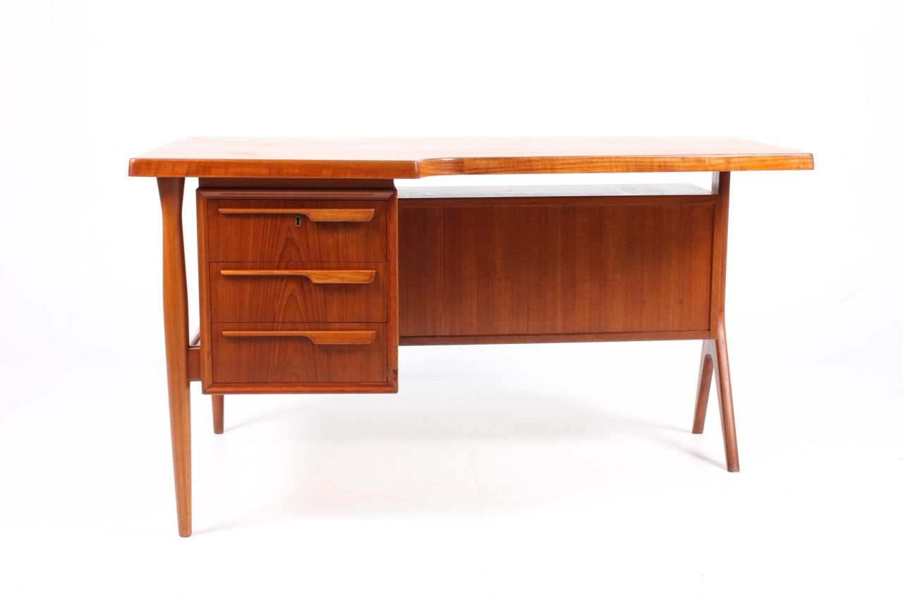 Danish Teak Desk with Drop-Door Cabinet 1950s  sc 1 st  Pamono & Danish Teak Desk with Drop-Door Cabinet 1950s for sale at Pamono pezcame.com