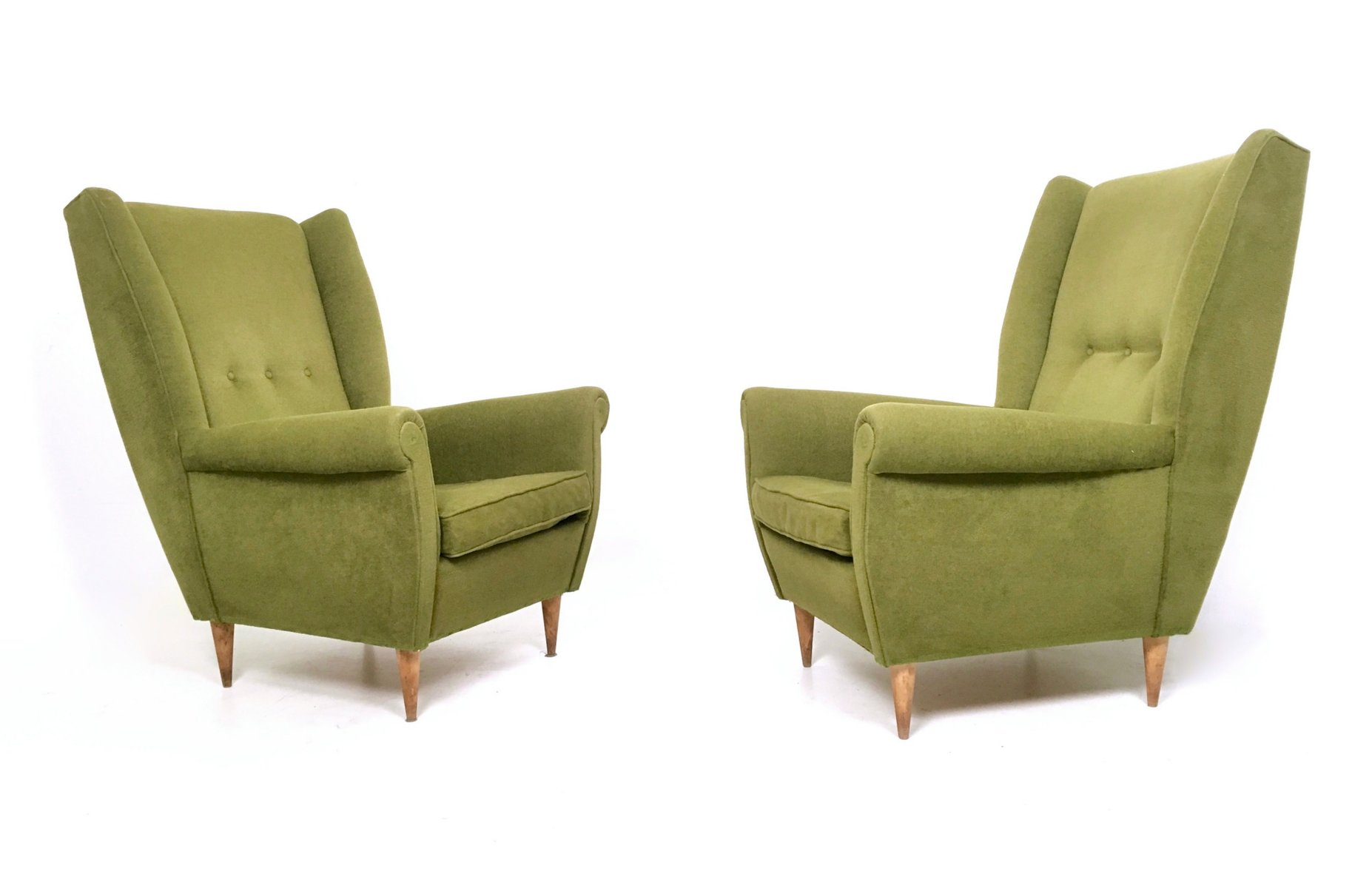 Olive Green Armchairs 1950s Set of 2 for sale at Pamono