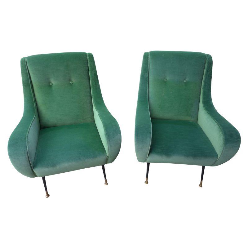 gr ne italienische sessel 1950er bei pamono kaufen. Black Bedroom Furniture Sets. Home Design Ideas
