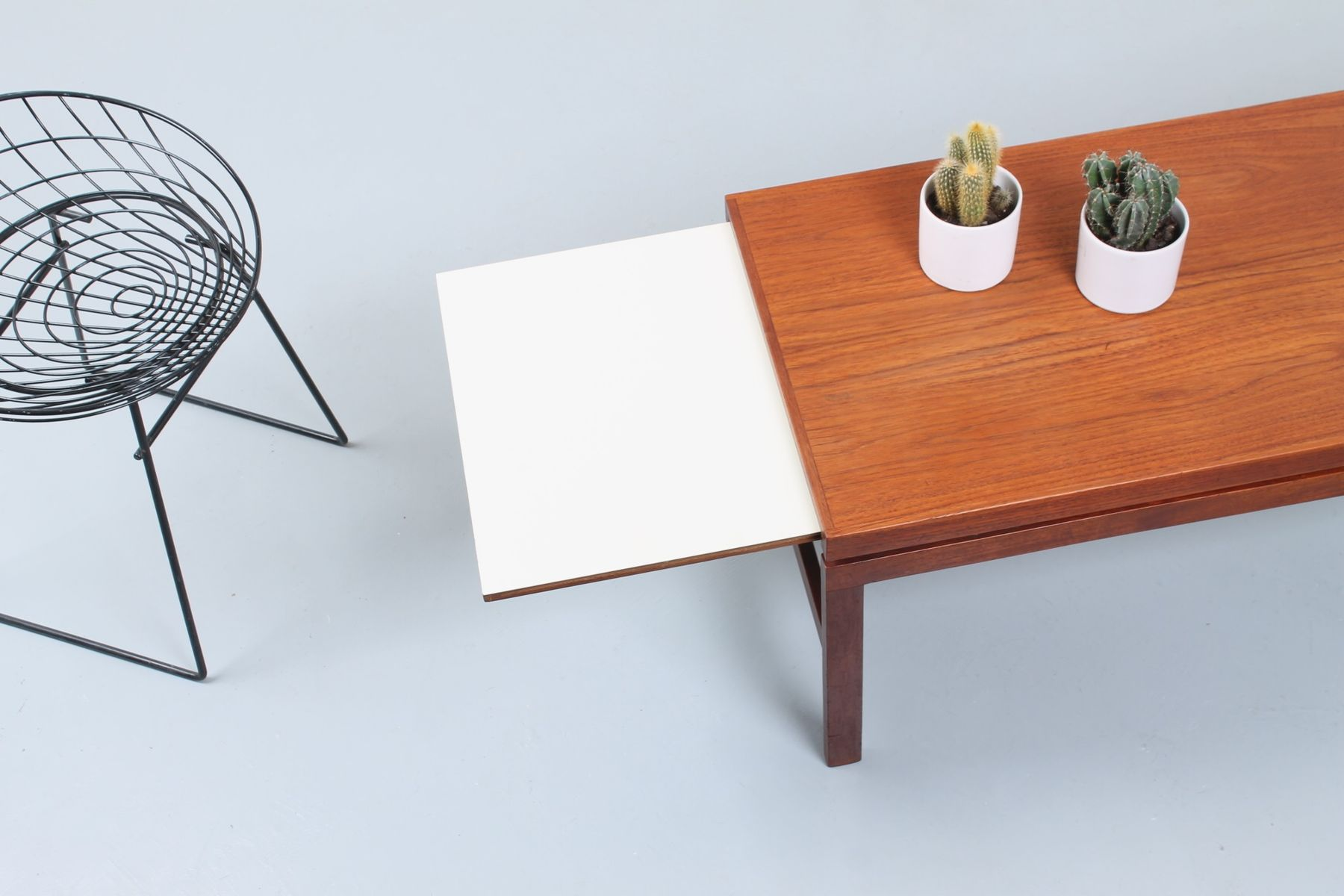 Extendable Teak Black White Coffee Table 1950s For Sale At Pamono