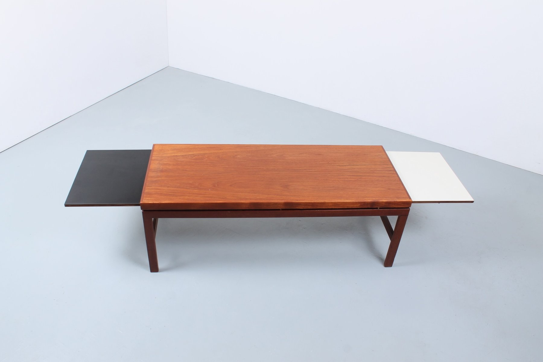 Extendable teak black white coffee table 1950s for sale at pamono - Telescopic coffee table ...