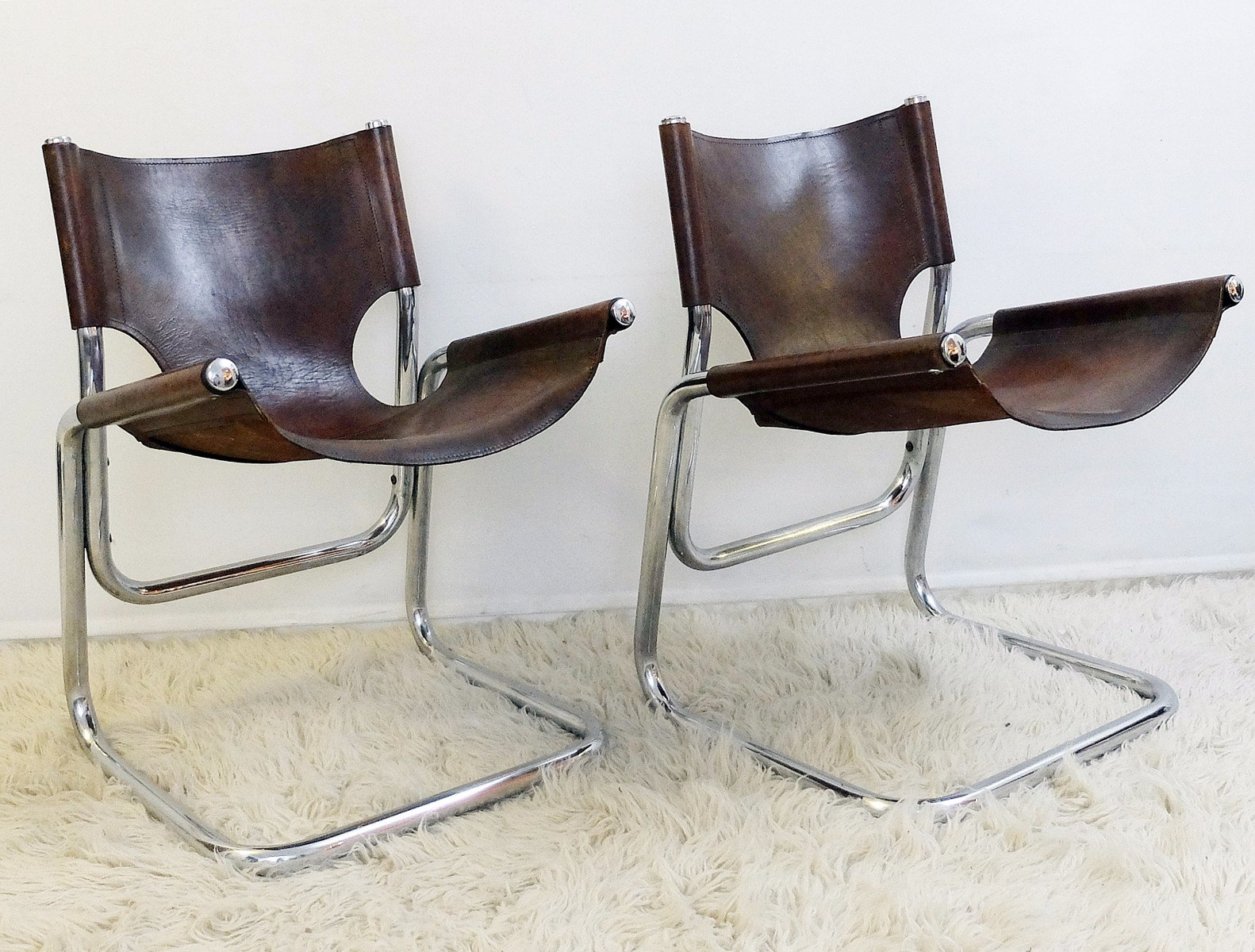 Vintage Italian Chrome And Brown Leather Chairs, Set Of 4