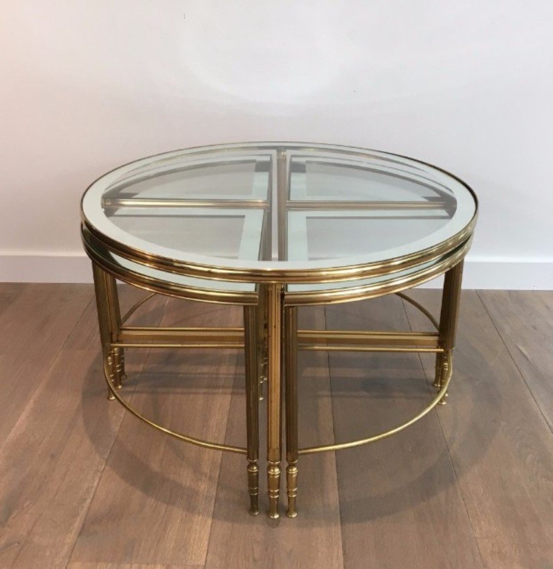 Round Brass Coffee Table 4 Nesting Tables 1960s For Sale At Pamono