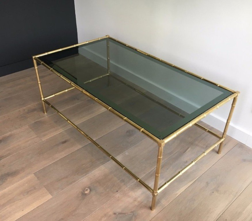 Brass Faux Bamboo Coffee Table: Faux Bamboo & Brass Coffee Table, 1940s For Sale At Pamono