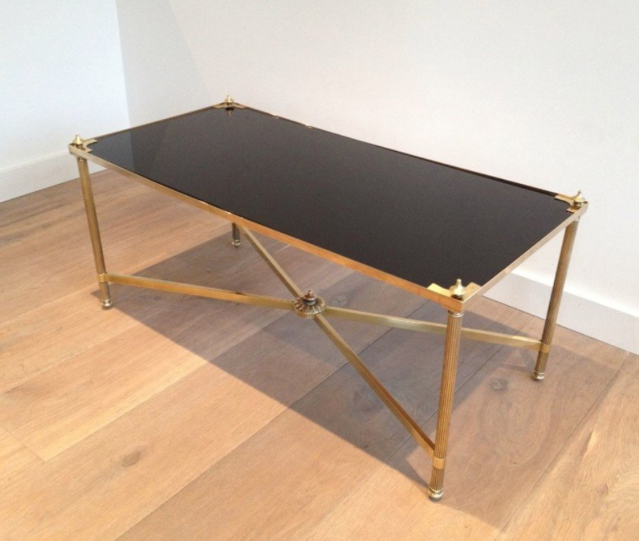 Vintage Rectangular Brass And Lacquered Glass Coffee Table