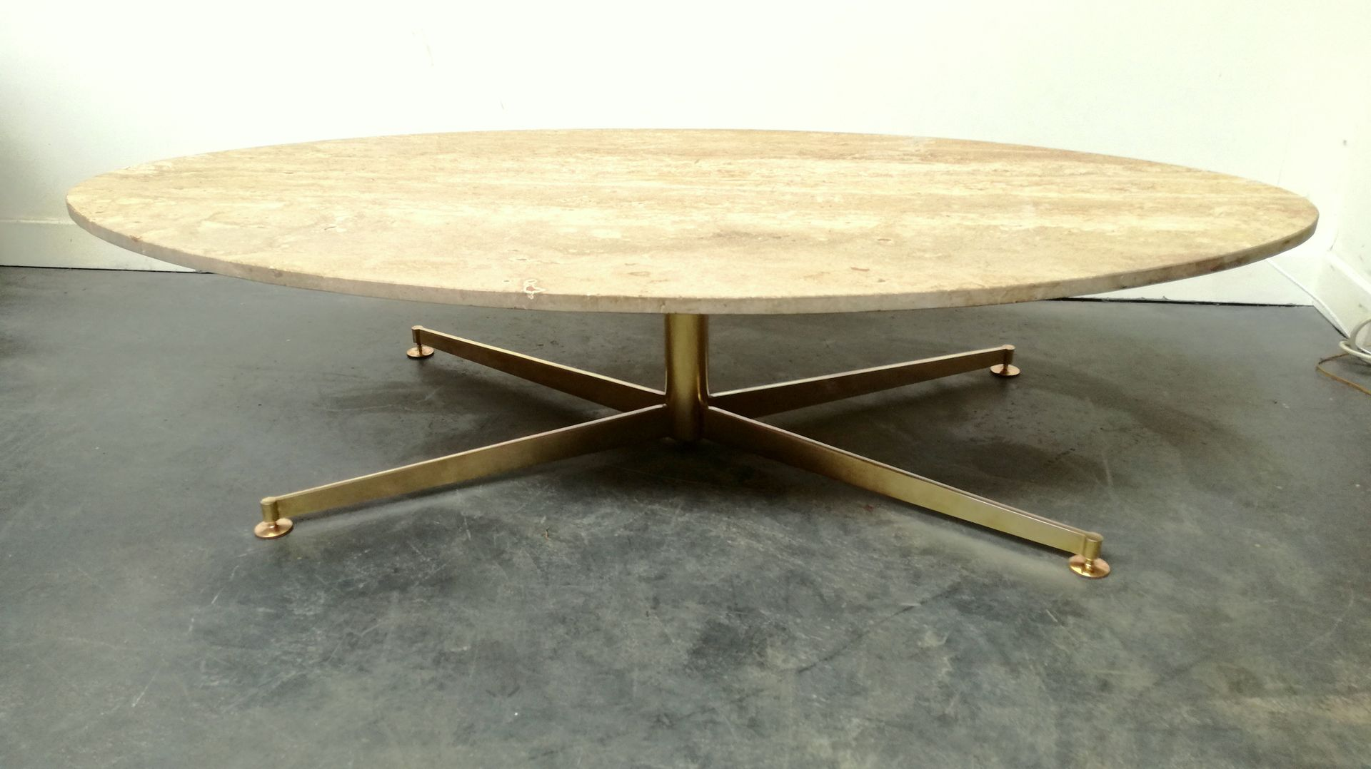 Vintage Marble & Brass Coffee Table by Michel Kin for Aflex for