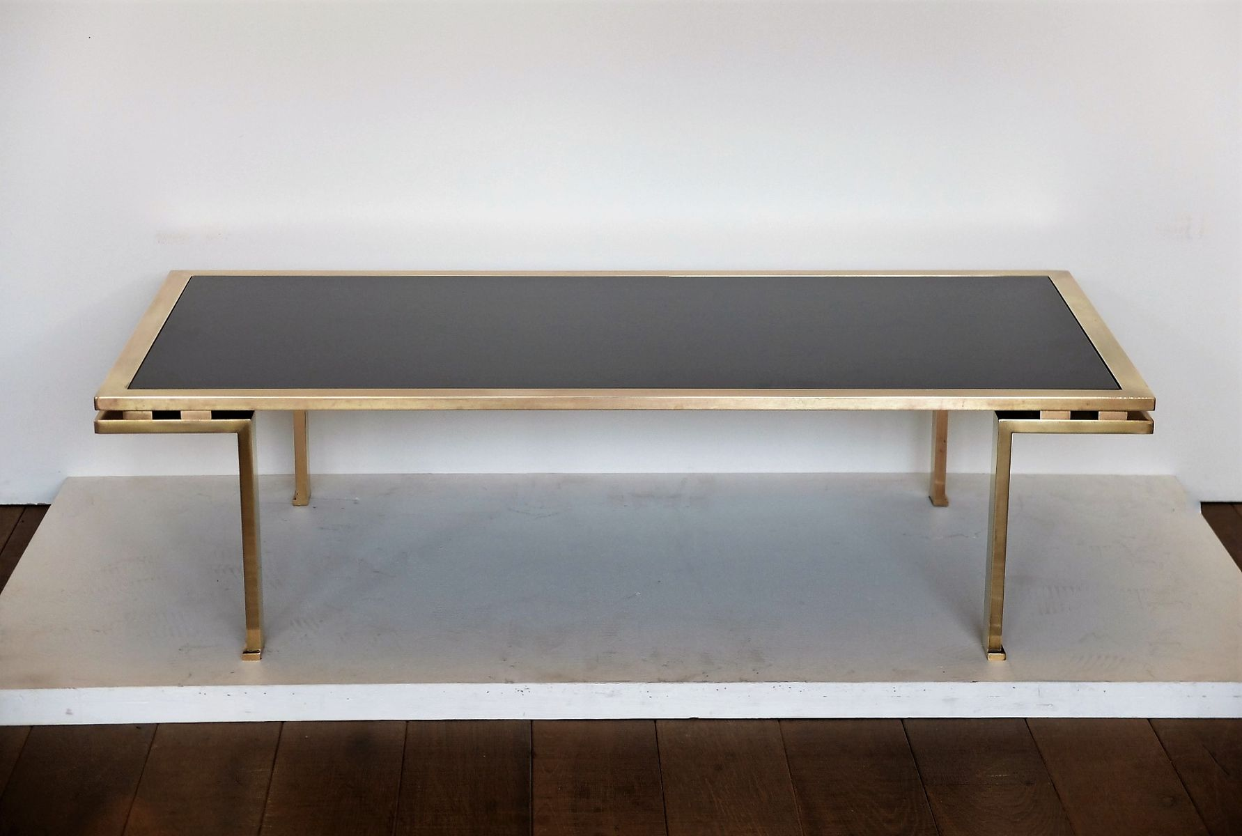 Brass & Black Opaline Glass Coffee Table by Guy Lefebvre for