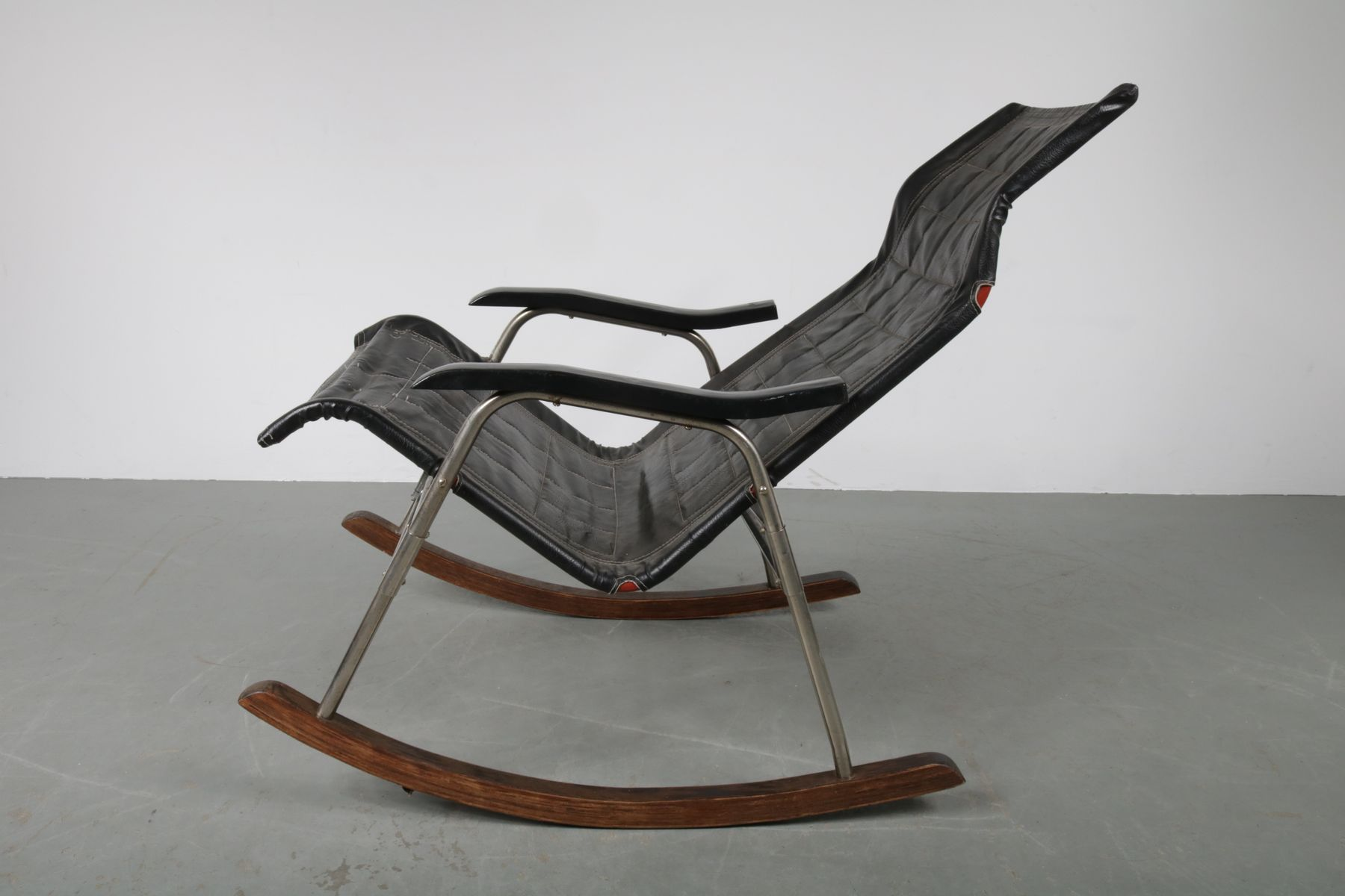 Japanese Black Leather Rocking Chair by Takeshi Nii 1950s for