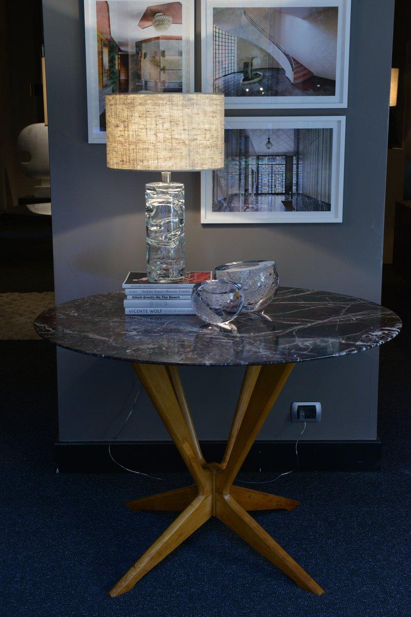 runder tisch aus buche und marmor 1950er bei pamono kaufen. Black Bedroom Furniture Sets. Home Design Ideas