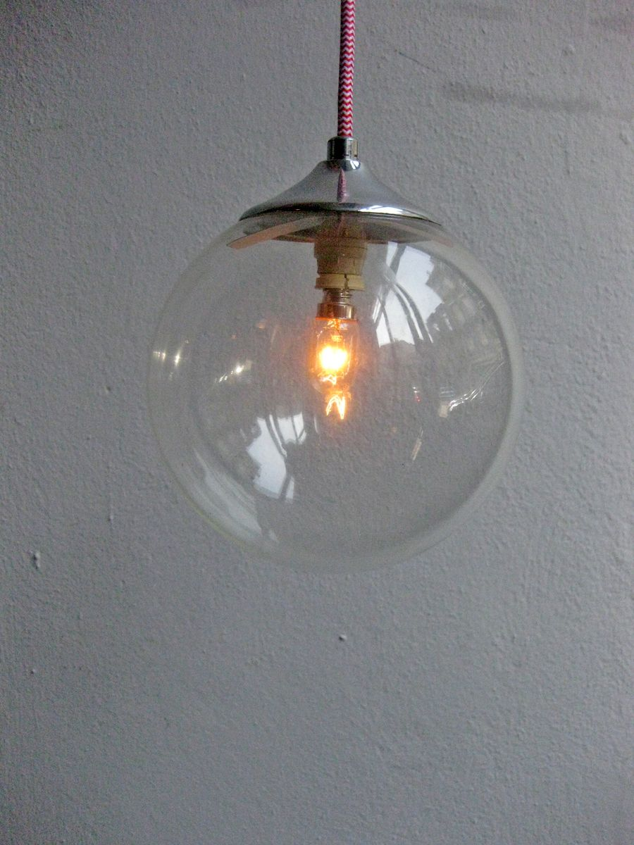 Vintage Glass And Chrome Pendant Lamp For Sale At Pamono