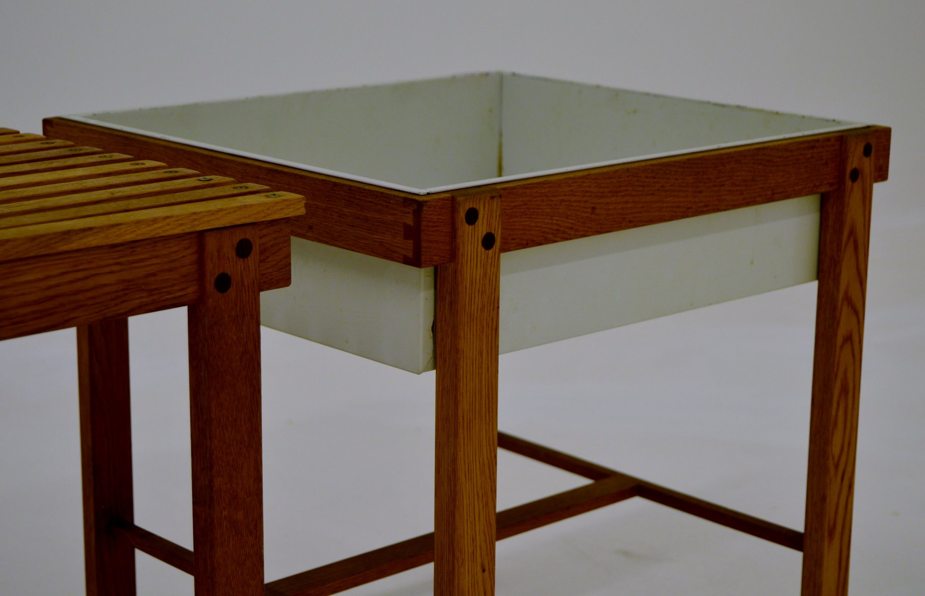 Oak Side Table And Planter, 1950s