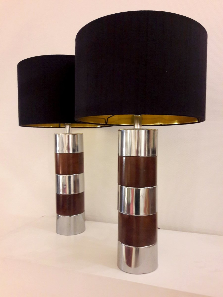 Wood chrome metal table lamps 1970s set of 2 for sale at pamono price per set geotapseo Image collections