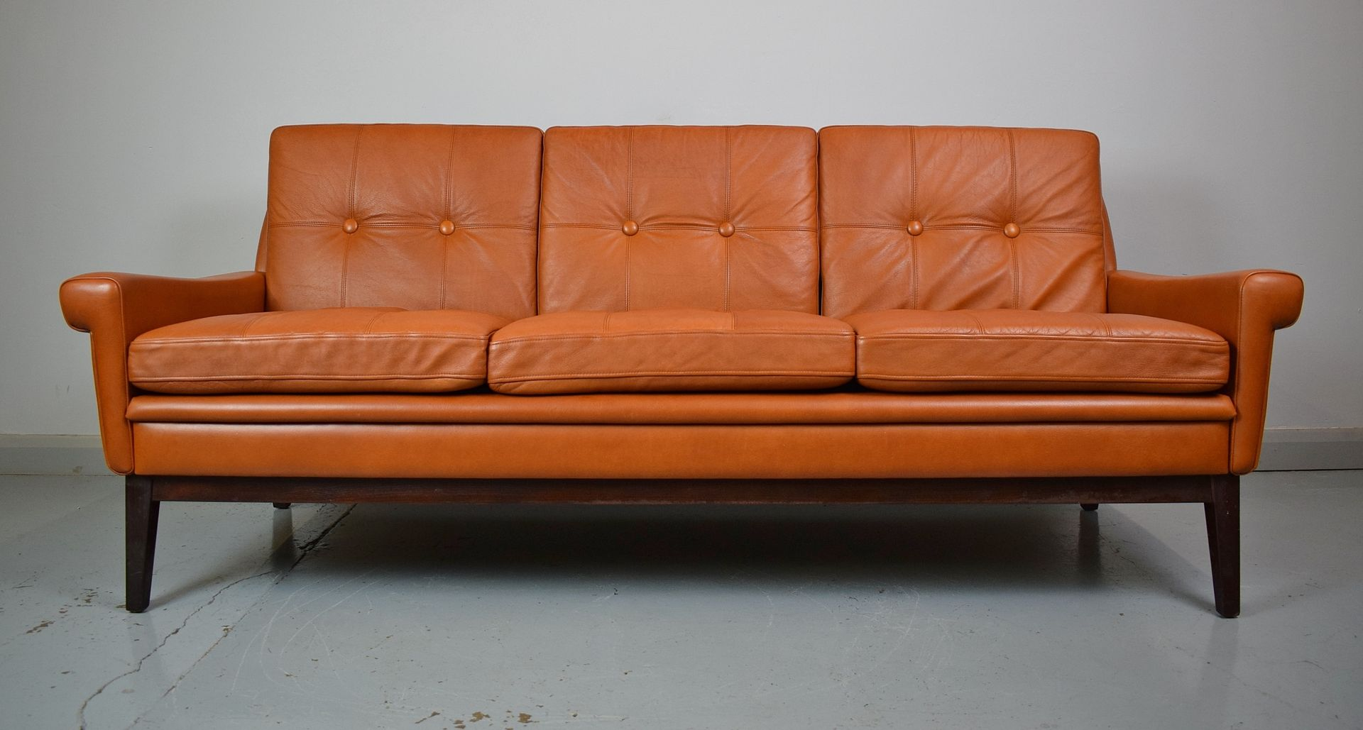 Tan leather 3 seater sofa by svend skipper for skipper for Tan couches for sale