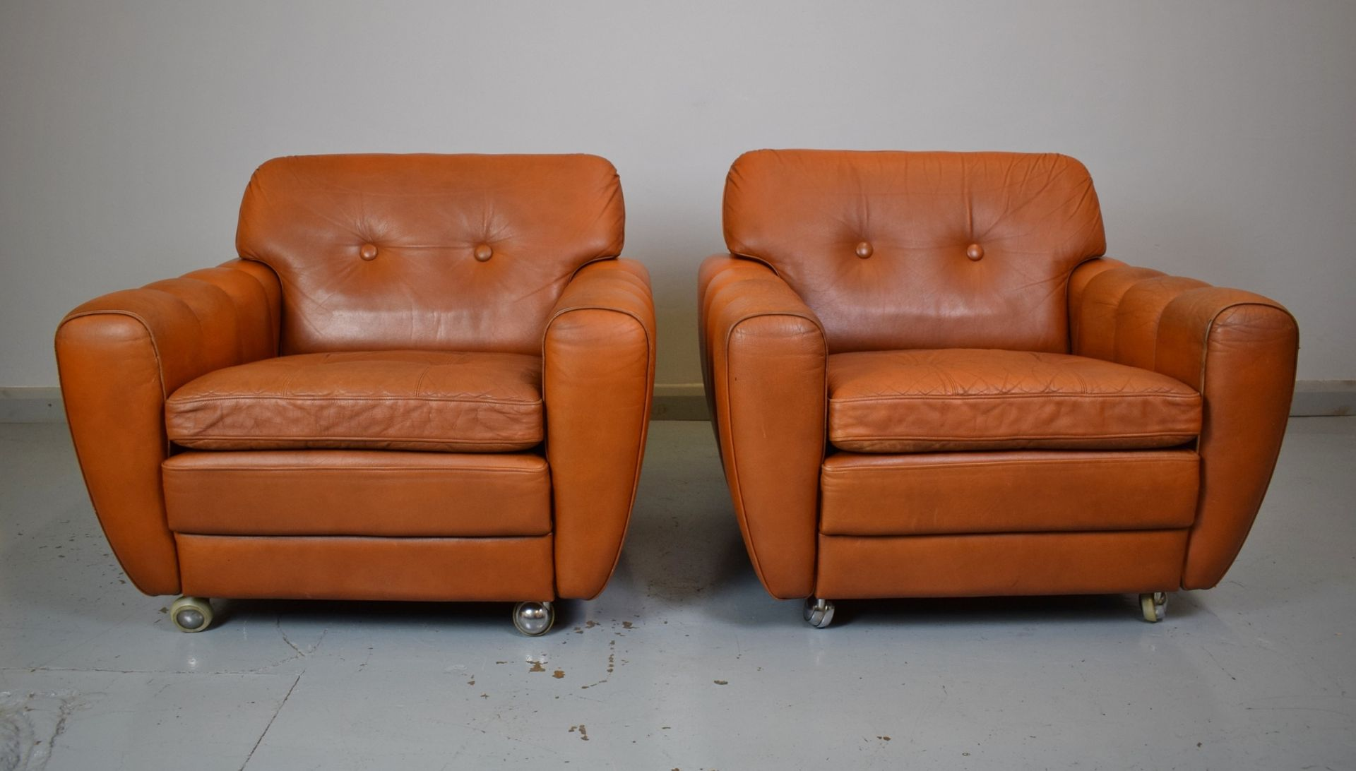 Danish Tan Leather Club Chairs by Svend Skipper for Skippers