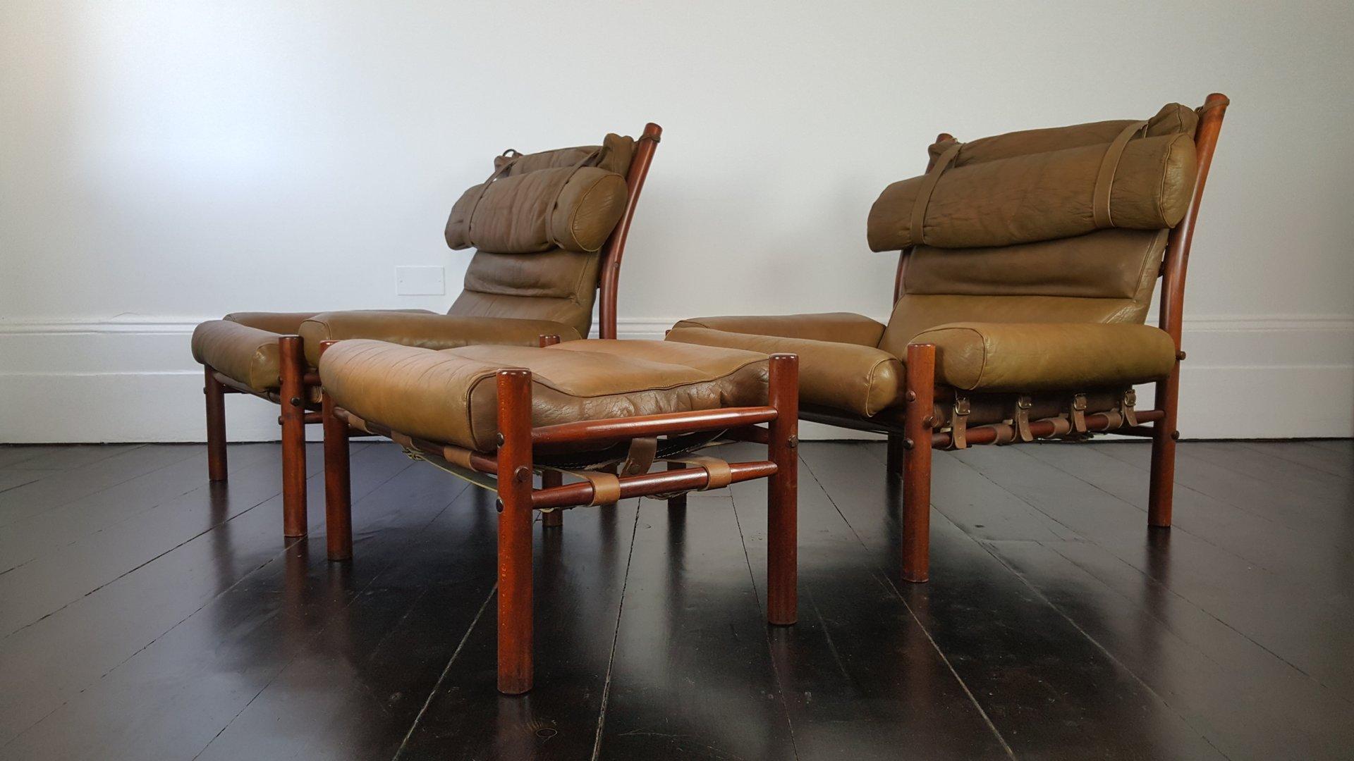 vintage inca sessel und hocker von arne norell f r norell mobler 3er set bei pamono kaufen. Black Bedroom Furniture Sets. Home Design Ideas