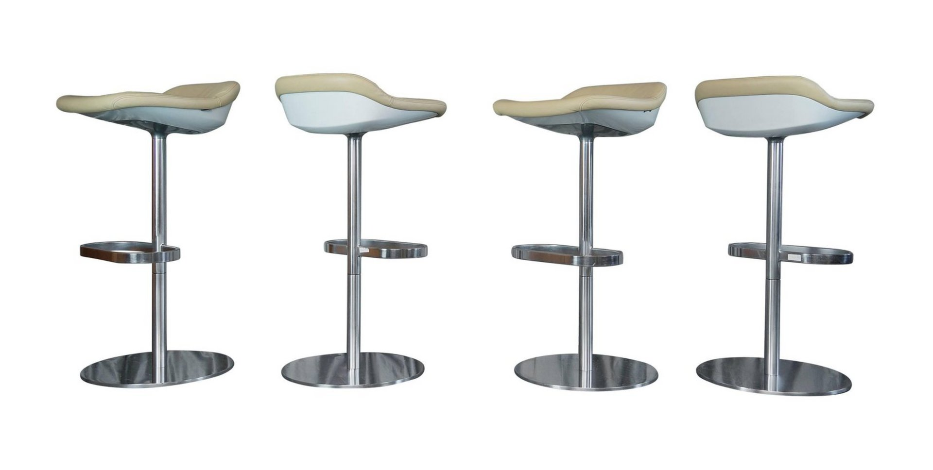 Cream Leather Turtle Bar Stools By Pearsonlloyd For Walter