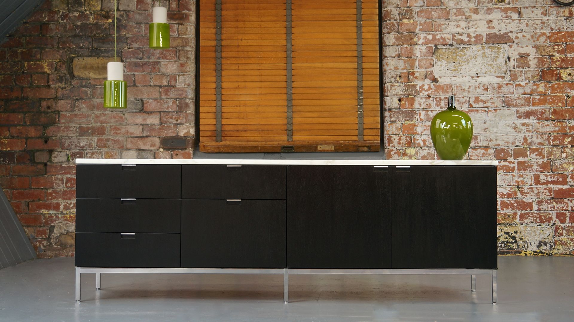 mid century calacatta marble ebonized oak sideboard by. Black Bedroom Furniture Sets. Home Design Ideas