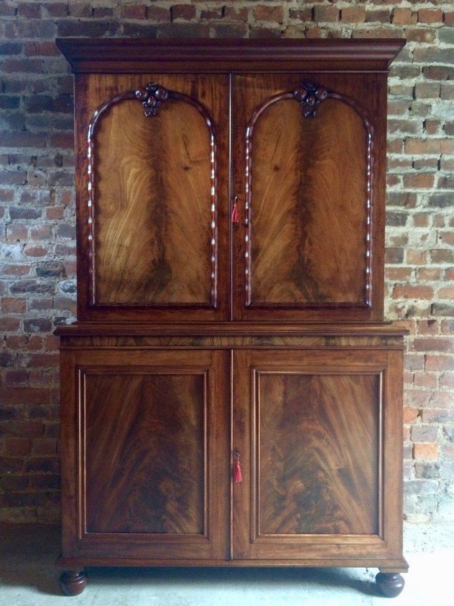 Antique Regency Linen Cupboard in Mahogany, 1820s - Antique Regency Linen Cupboard In Mahogany, 1820s For Sale At Pamono