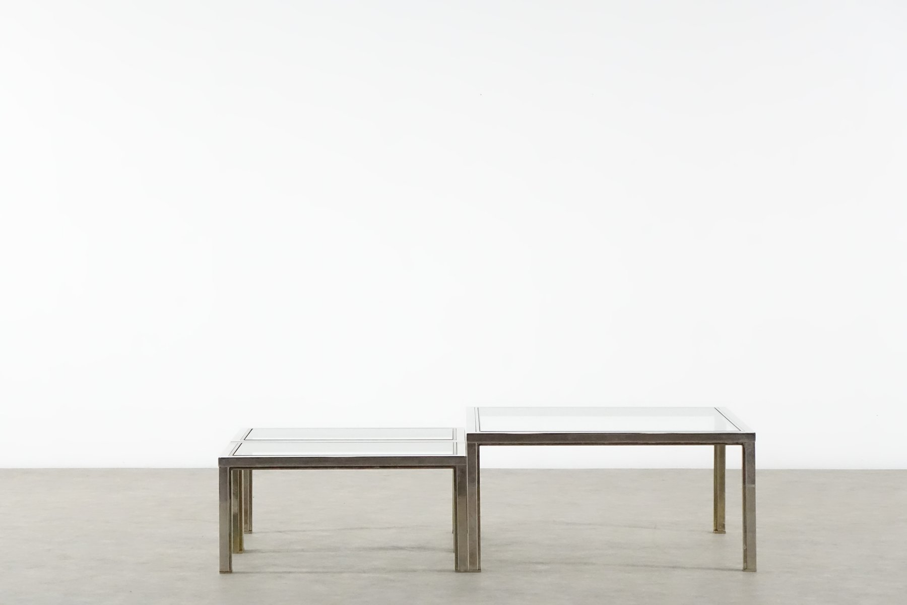Bicolored Coffee Table and Side Tables from Maison Charles 1970s