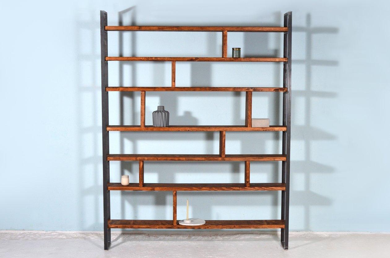 Libreria Suster Zwart in acciaio e legno grezzo di Johanenlies ...