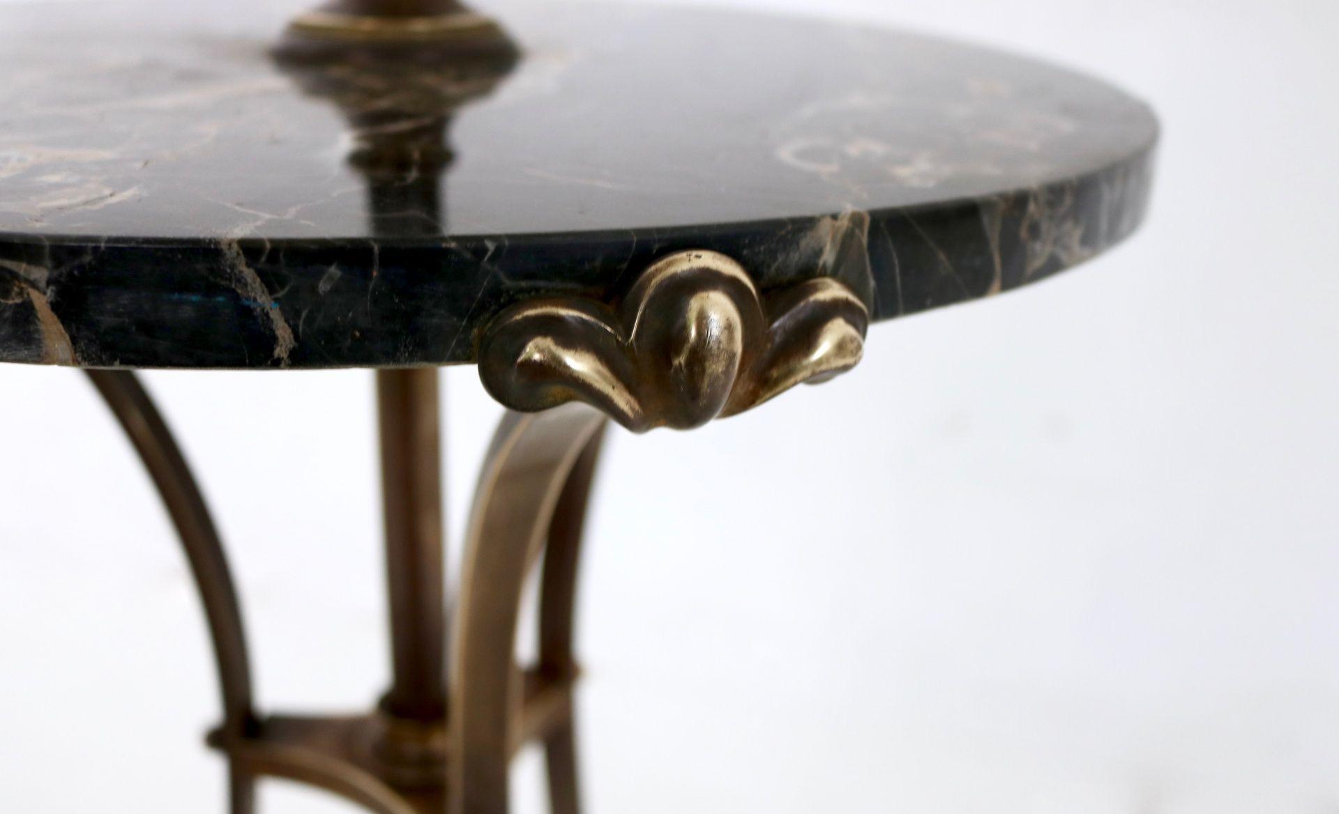 Bronze Telescopic Floor Lamp with Portoro Marble Tabletop 1920s