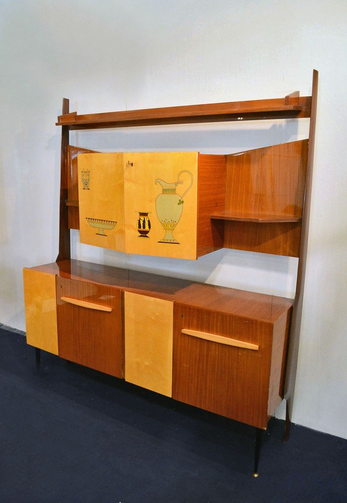 Living room cabinets in bicolor wood with bar 1950s set for Living room cabinets