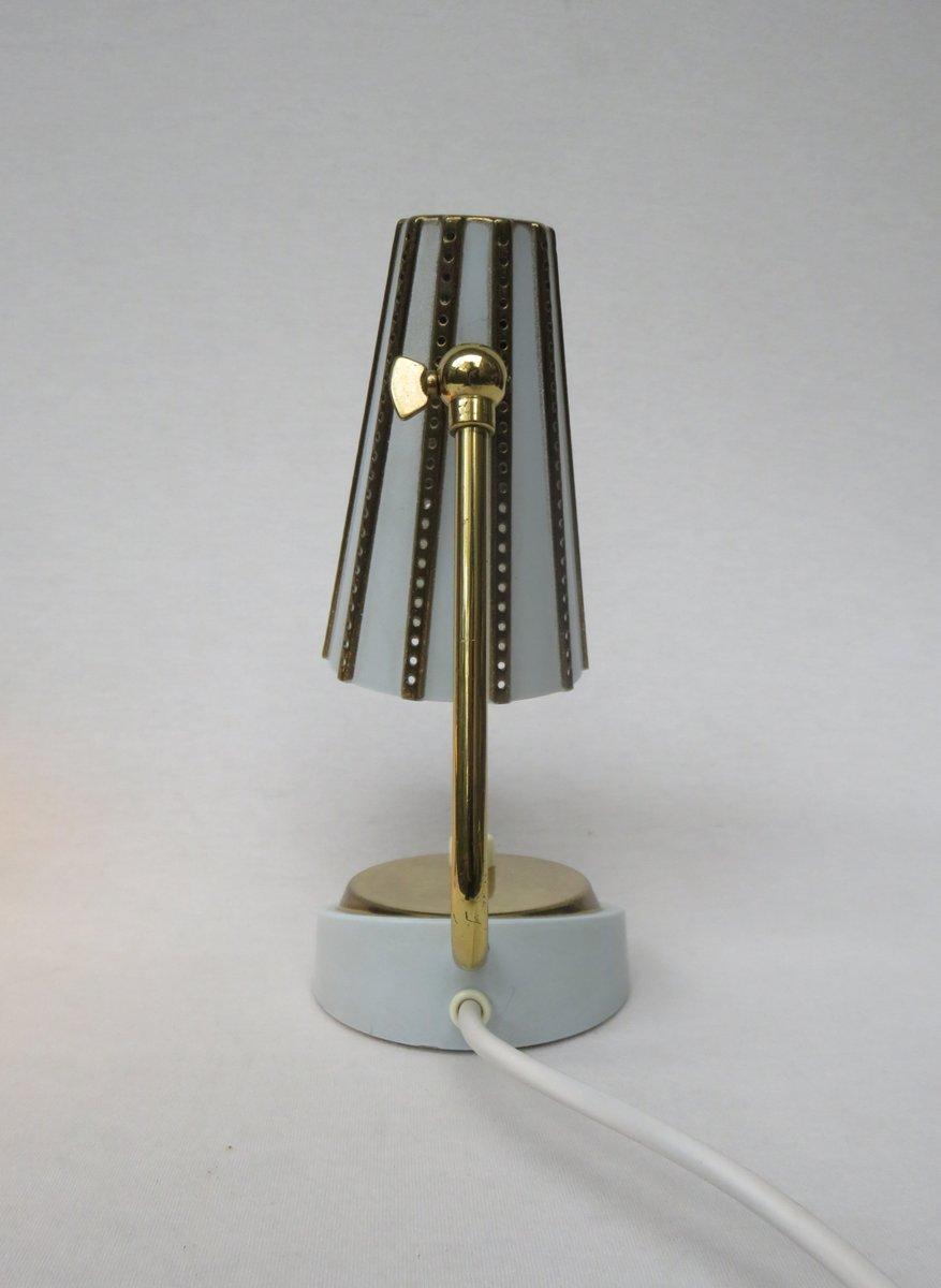 Italian Brass Bedside Lamps in Light Blue, 1950s, Set of 2 for ...