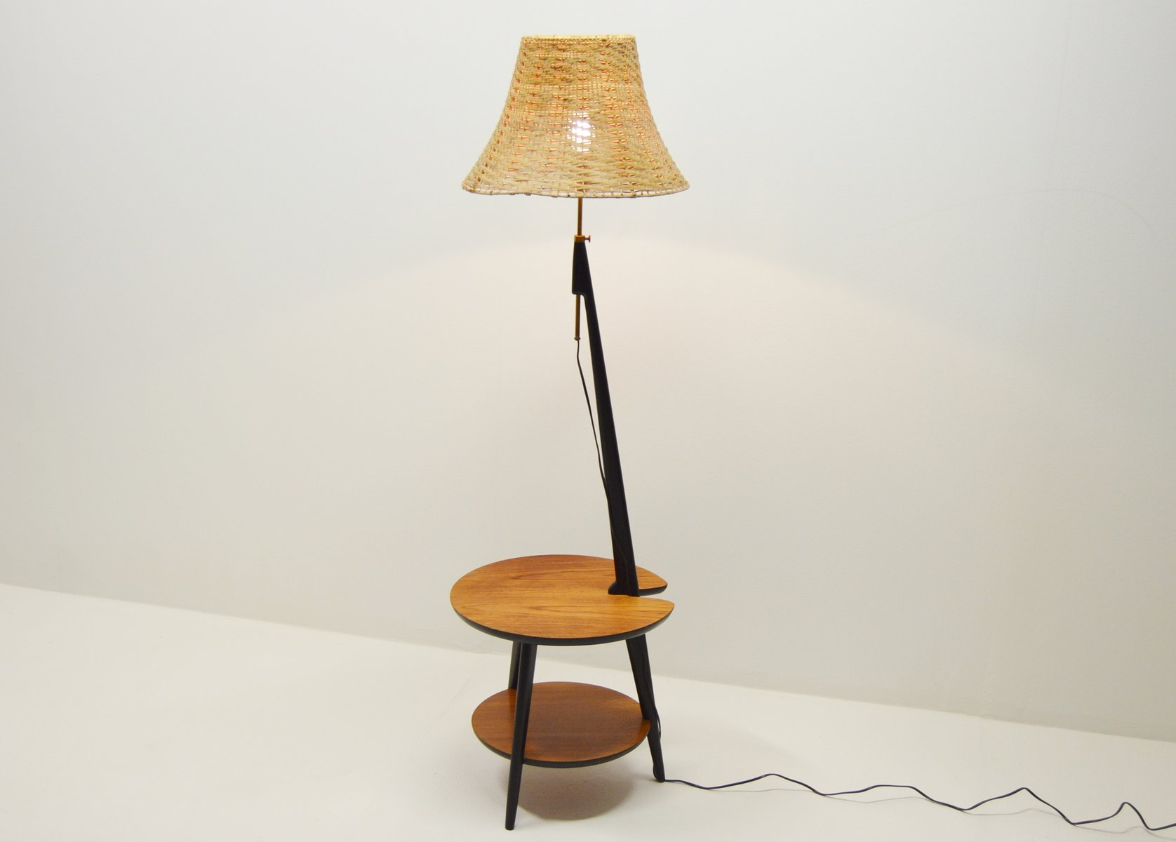 Teak Floor Lamp With Integrated Side Table, 1960s For Sale