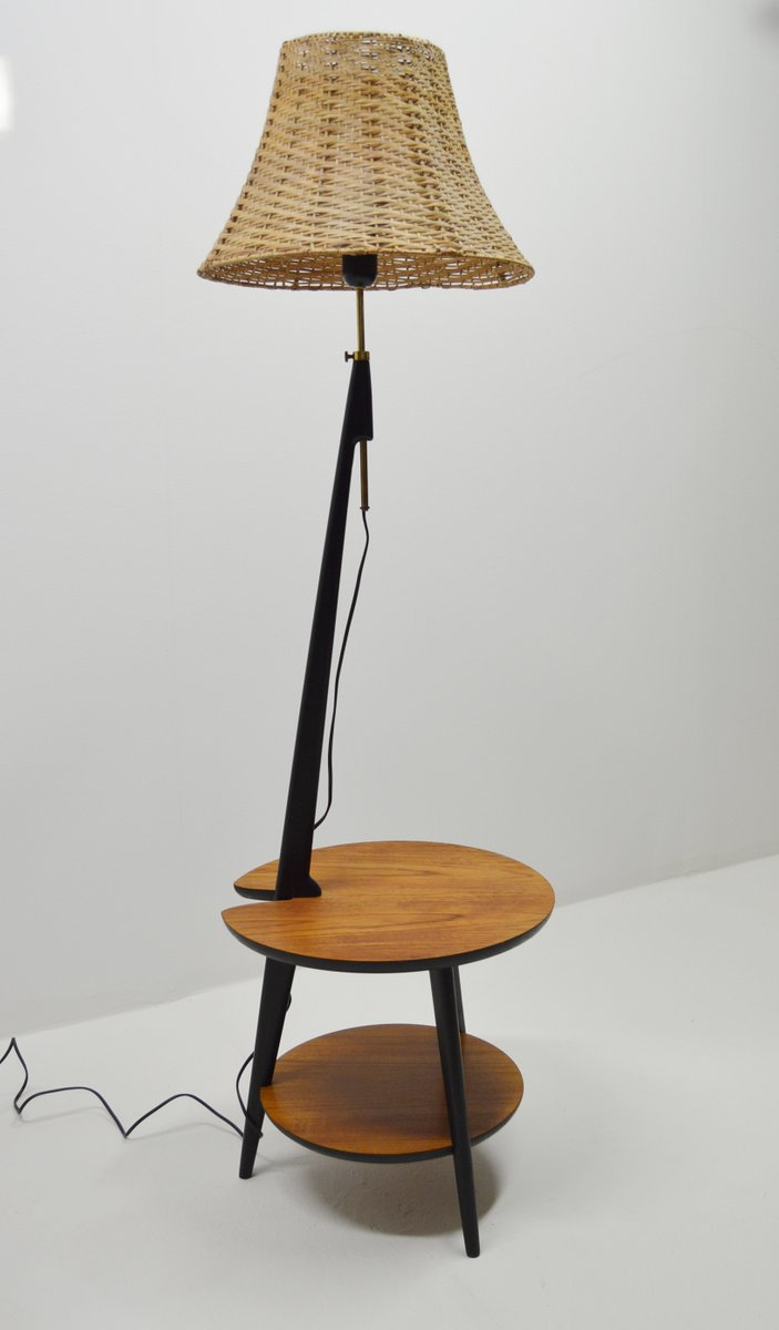 Teak floor lamp with integrated side table 1960s for sale for Side lamp table