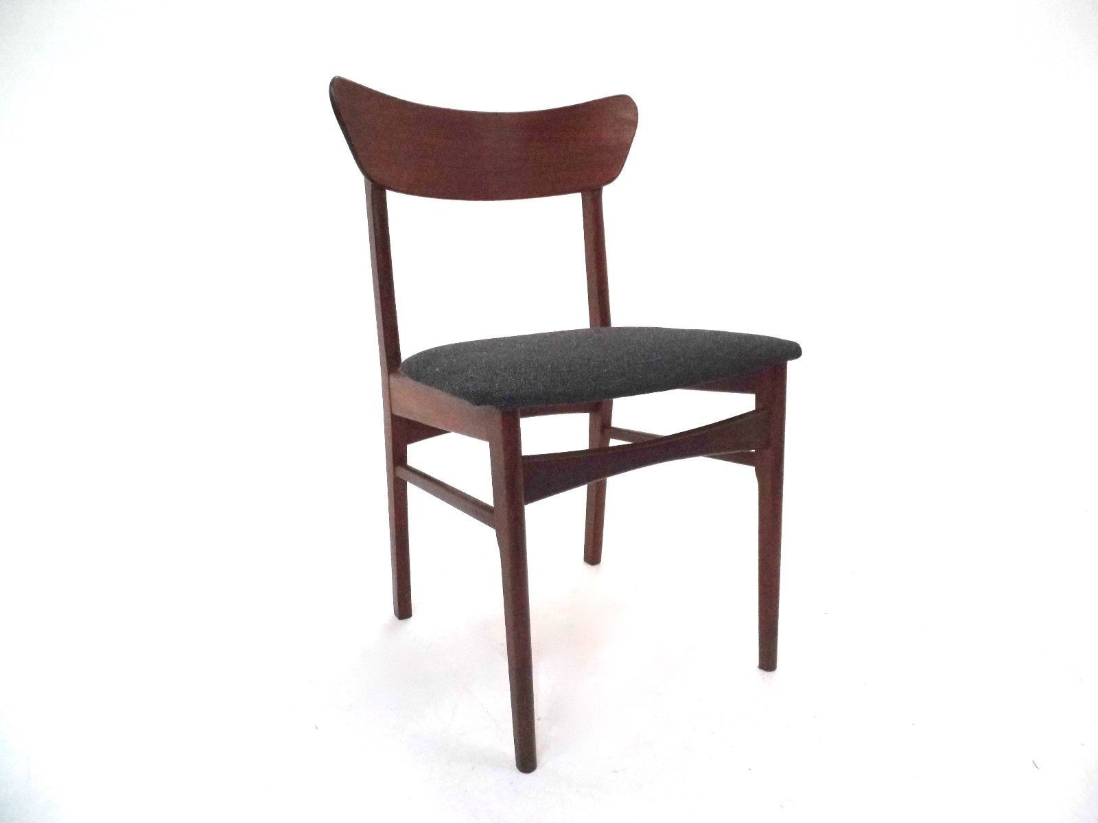 Danish Teak & Charcoal Grey Fabric Dining Chairs 1960s Set of 4