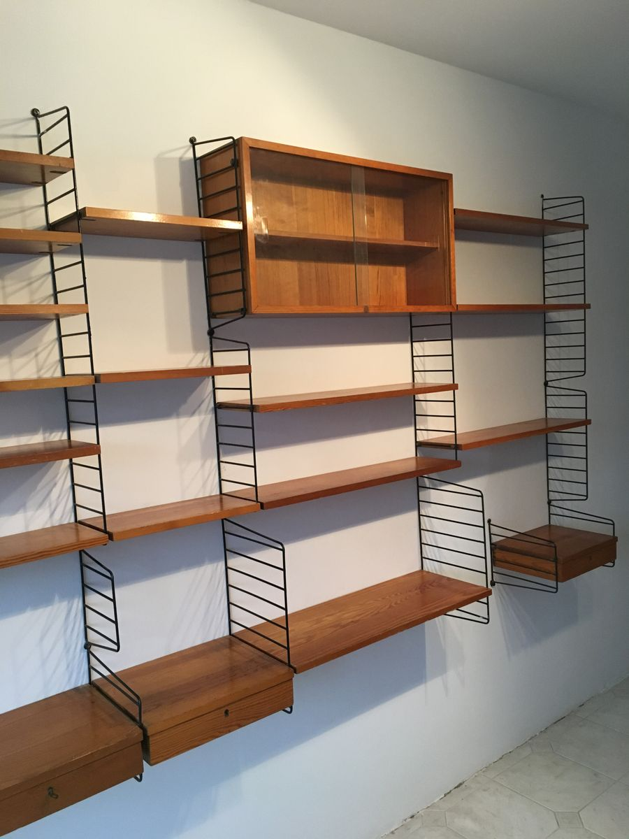 mid century regalsystem von kajsa nils nisse strinning f r string bei pamono kaufen. Black Bedroom Furniture Sets. Home Design Ideas