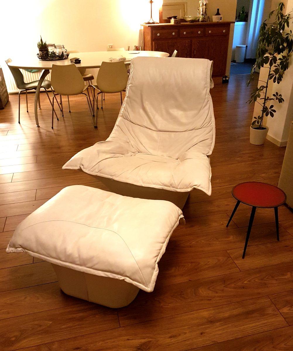 leder polstersessel mit ottomane 1970er bei pamono kaufen. Black Bedroom Furniture Sets. Home Design Ideas