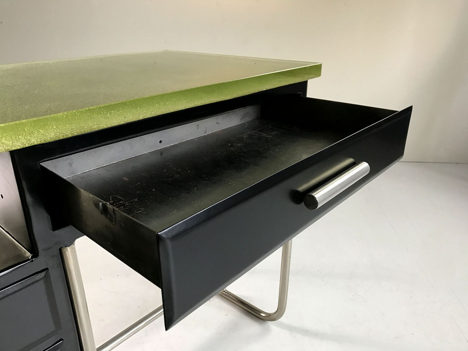 Tubular desk in black lacquered metal and glass 1930s for sale at pamono - Metal and glass desks ...