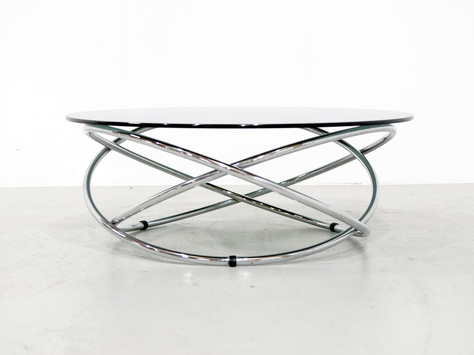 Italian Chrome & Smoked Glass Coffee Table 1960s for sale at Pamono