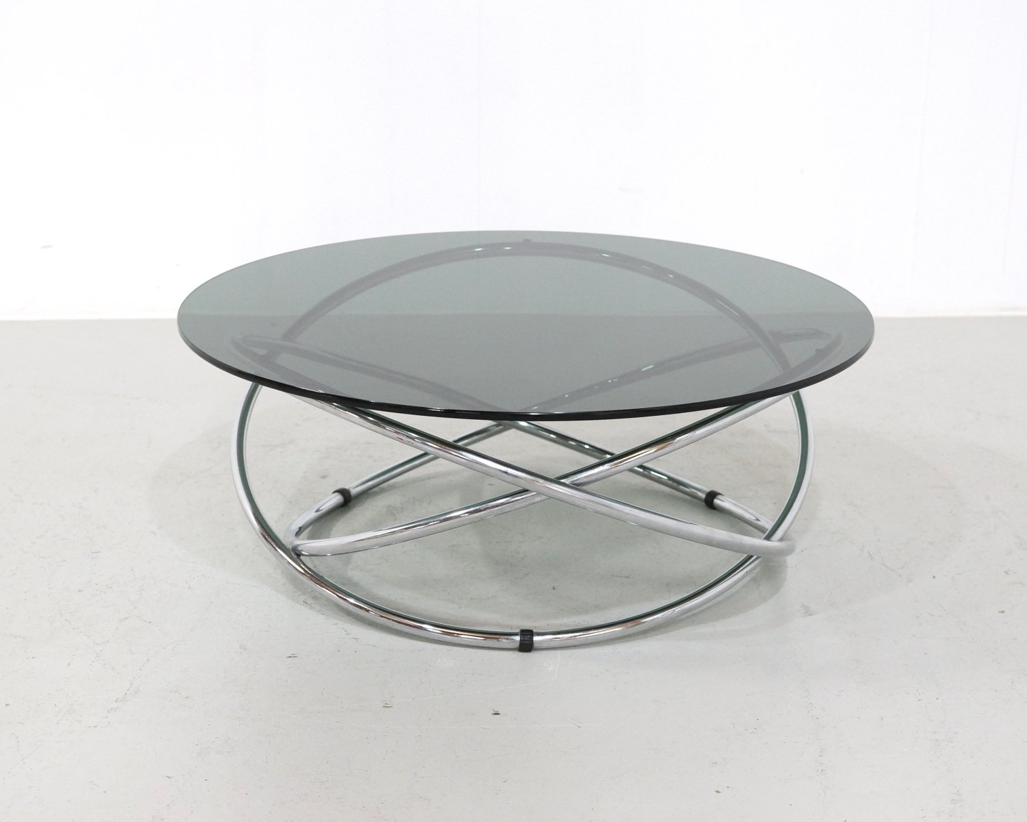 Italian Chrome U0026 Smoked Glass Coffee Table, 1960s