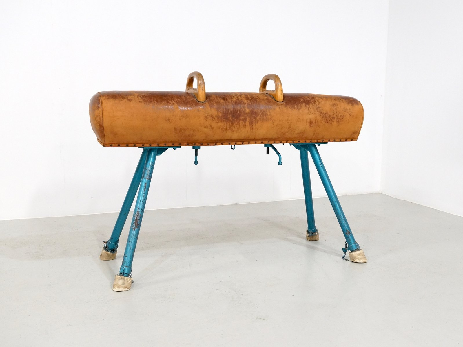 Vintage pommel horse on an iron base 1950s for sale at pamono for Vintage horseshoes for sale