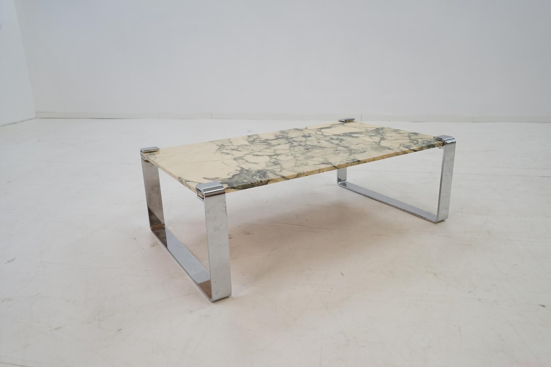 Marble & Chrome Coffee Table by Peter Draenert 1970s for sale at