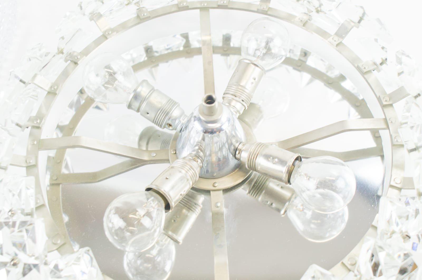 plafonier crystal glass lamps from kinkeldey 1960s set. Black Bedroom Furniture Sets. Home Design Ideas