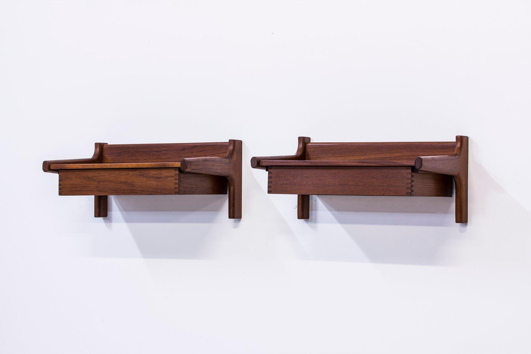 Uncategorized Wall Mounted Bedside Table Wall Mounted Bedside Tables By  Mogensen For 1950s Set Of 2