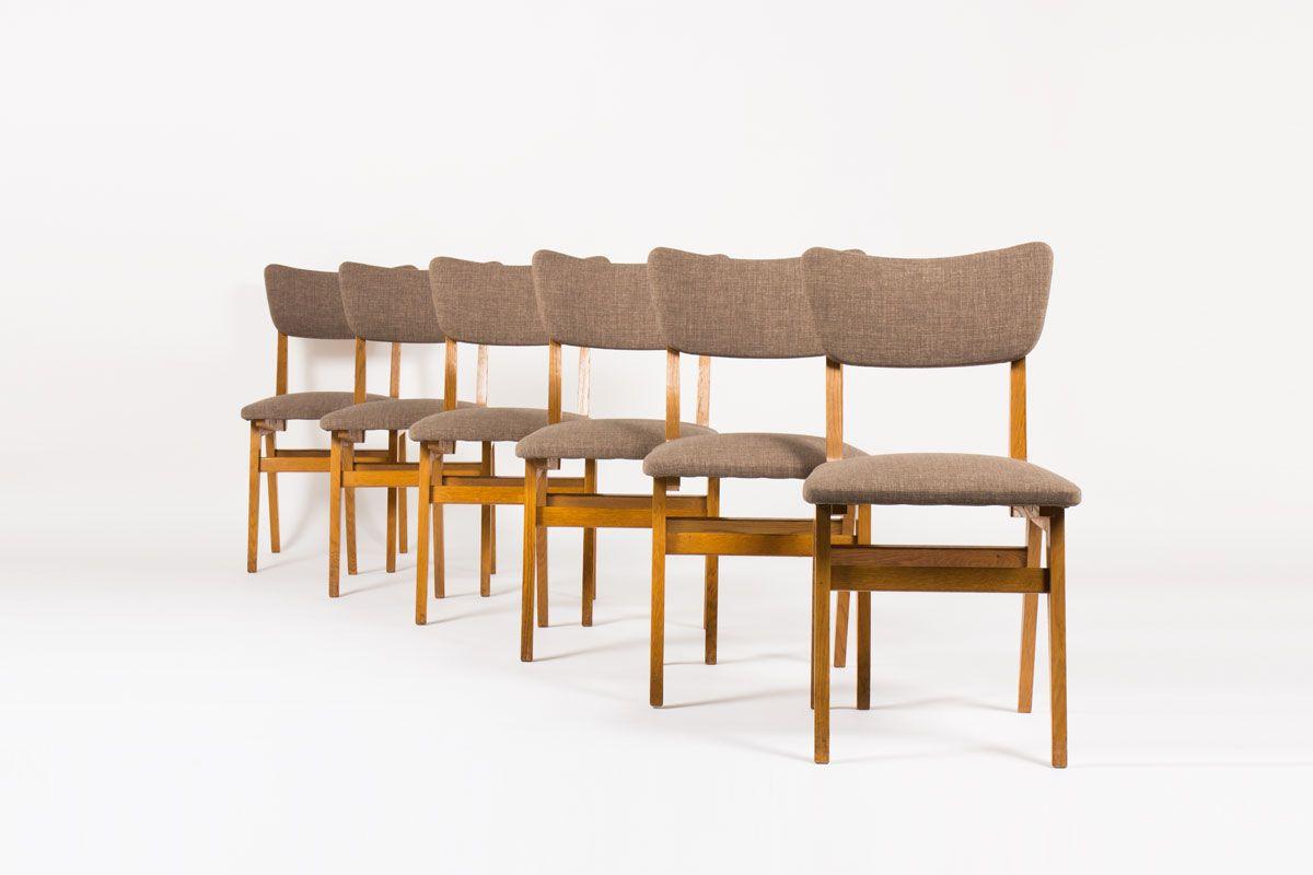 franz sische eichenholz st hle 1950er 6er set bei pamono. Black Bedroom Furniture Sets. Home Design Ideas