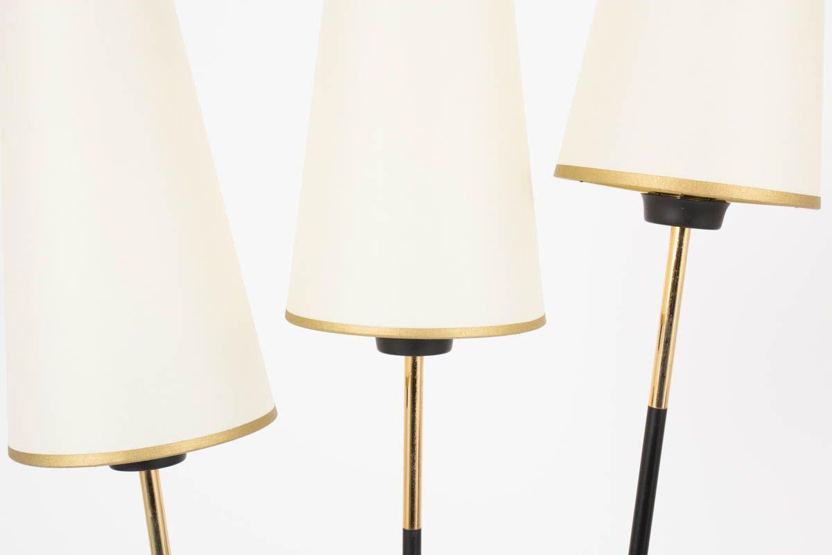 stehlampe mit drei armen aus schwarzem metall messing. Black Bedroom Furniture Sets. Home Design Ideas