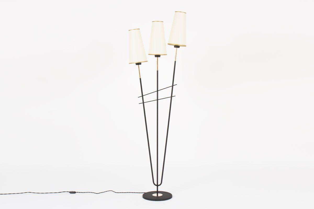 stehlampe mit drei armen aus schwarzem metall messing von arlus 1950er bei pamono kaufen. Black Bedroom Furniture Sets. Home Design Ideas
