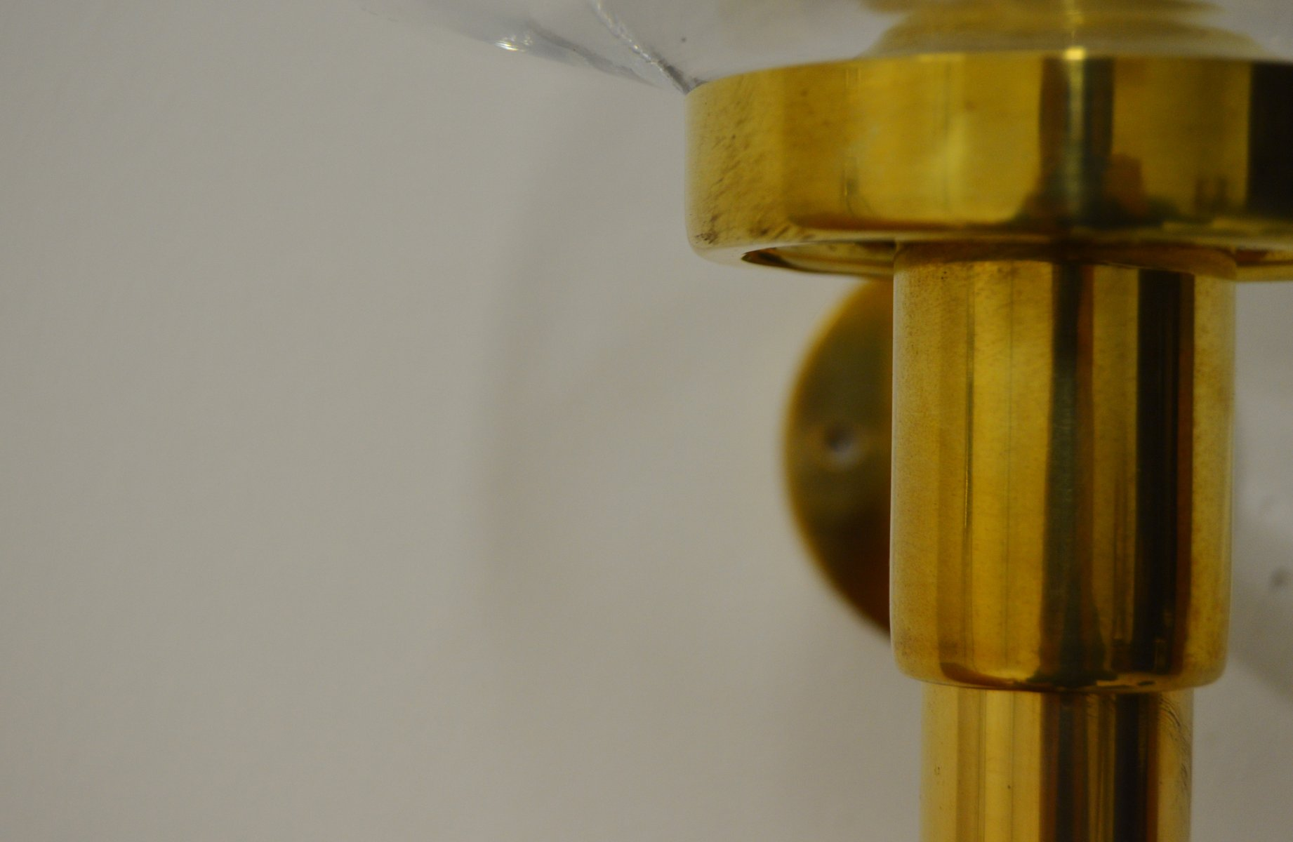 Vintage Wall Mounted Brass and Glass Candle Holder by Hans-Agne Jakobsson for sale at Pamono