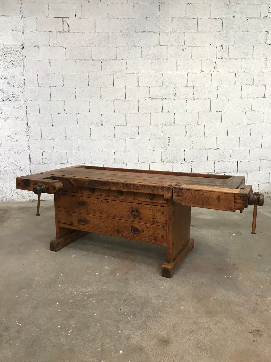 antike werkbank mit schubladen bei pamono kaufen. Black Bedroom Furniture Sets. Home Design Ideas