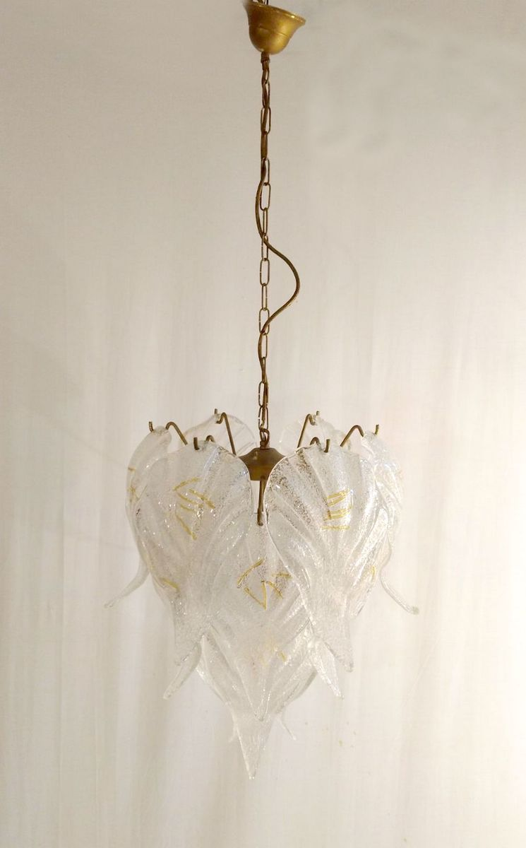 Murano glass leaf chandelier from mazzega 1960s for sale at pamono murano glass leaf chandelier from mazzega 1960s arubaitofo Choice Image