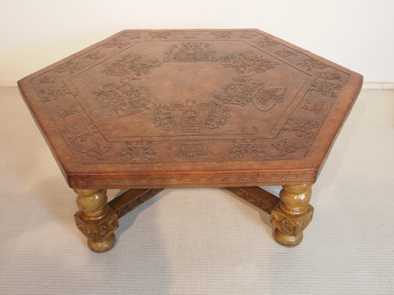 Peruvian Leather Coffee Table 1950s for sale at Pamono