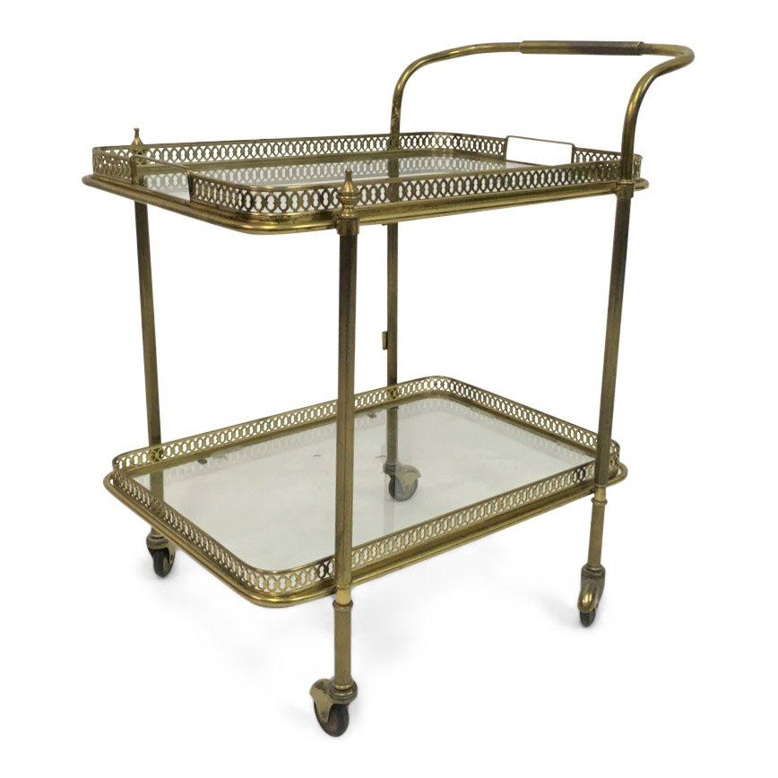 Vintage Brass French Drinks Trolley Bar Cart