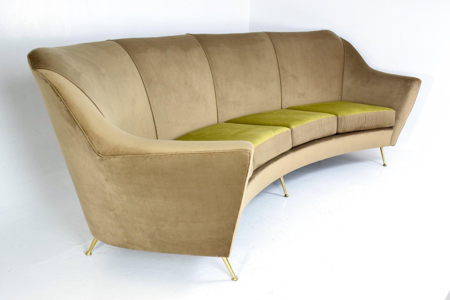 mid century italian curved sofa bei pamono kaufen. Black Bedroom Furniture Sets. Home Design Ideas