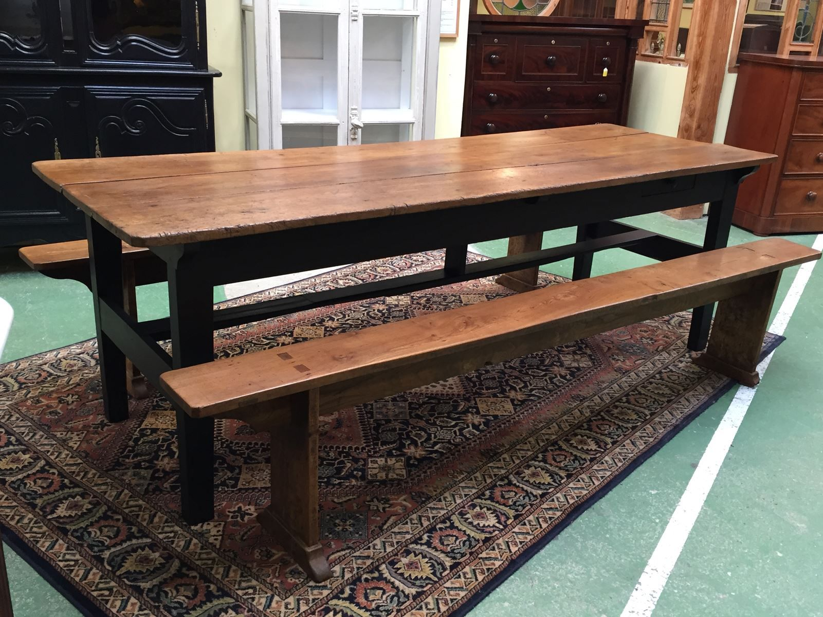 Late 19 Century Elm Farm Table 2 Benches For Sale At Pamono
